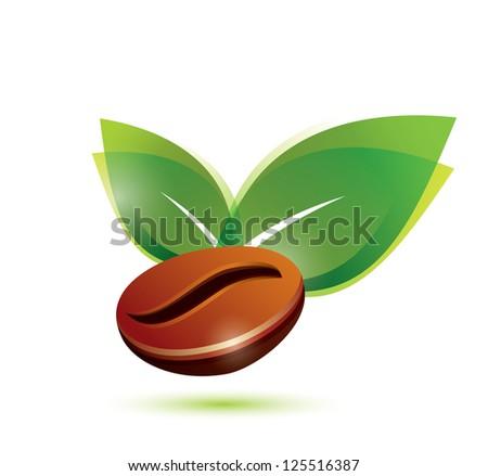 coffee bean natural, stylized icon. raster version - stock photo