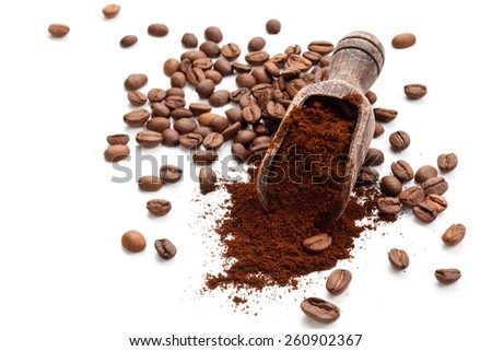 Coffee beans and  ground coffee isolated on white background.  - stock photo