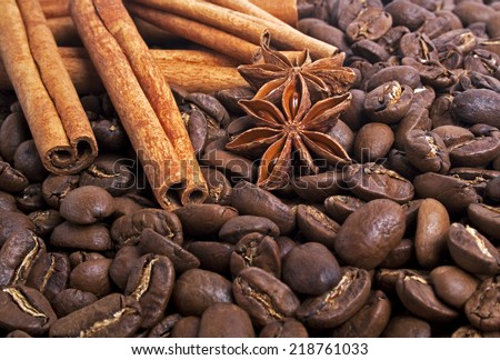 Coffee beans, anise and cinnamon sticks - stock photo