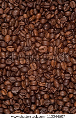 coffee beans background, food texture - stock photo