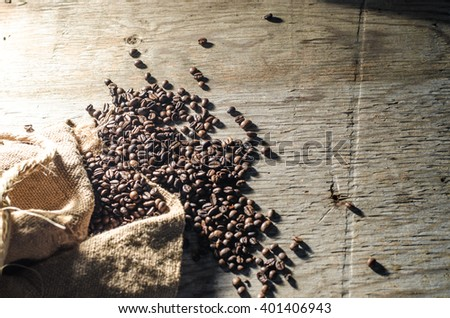 coffee beans, burlap - stock photo