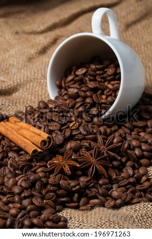 Coffee beans, cinnamon and aniseed in coffee cup - stock photo