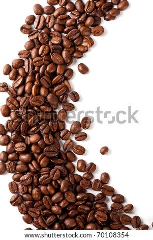 coffee beans closeup on a white background - stock photo