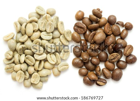 coffee beans, green and roasted - stock photo