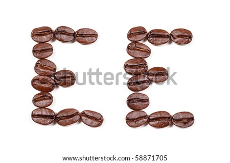 "Coffee beans in a form to spell the letter ""EE"" to be used with the other letters to spell out the word ""Coffee""  on white - stock photo"