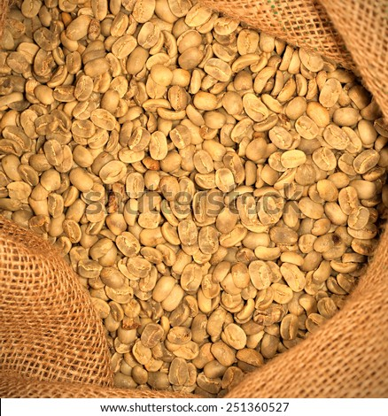 coffee beans in a sack, instagram image retro style - stock photo