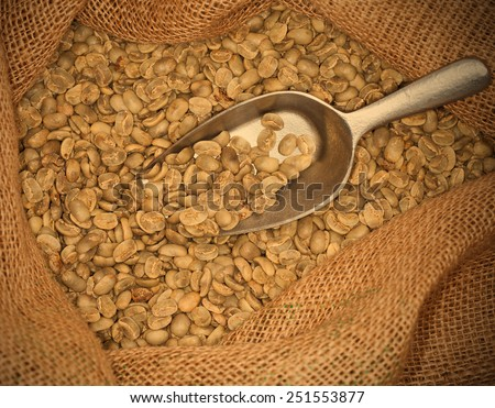 coffee beans in a sack, instagram image style - stock photo