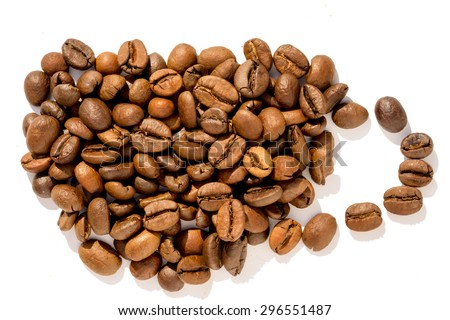 coffee beans in coffee cup shape isolated on white background - stock photo
