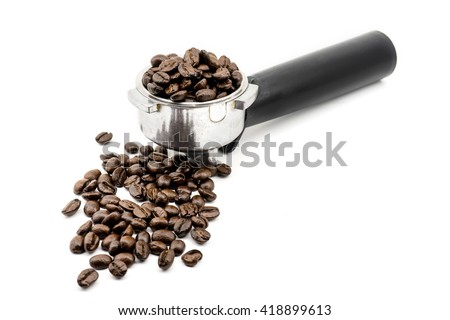 Coffee beans in filter basket  isolated on white - stock photo