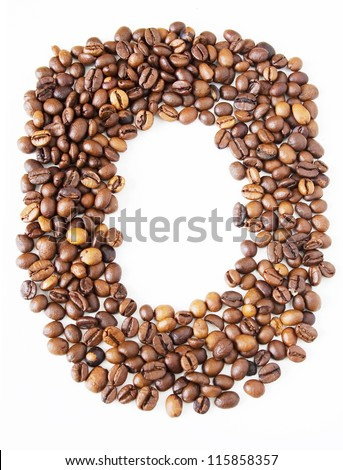 Coffee beans in shape numeral on the isolated white background. Figure Zero - stock photo
