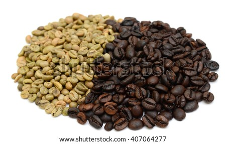 coffee beans isolated in white background - stock photo