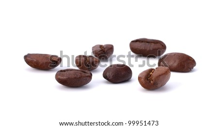 Coffee beans isolated on the white background - stock photo