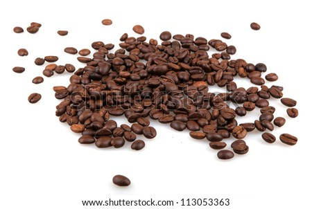 Coffee Beans isolated on white. - stock photo