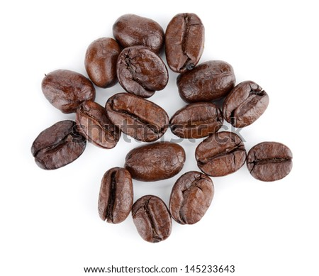 Coffee beans. Isolated on white background - stock photo