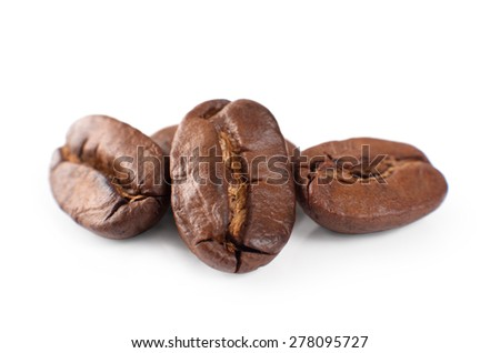 Coffee beans isolated on white background. Close-up - stock photo