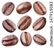 Coffee beans isolated on white background. Each bean have to clipping path. - stock photo