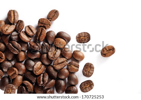 Coffee beans isolated, studio shot  - stock photo