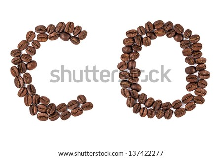 coffee beans letters - stock photo