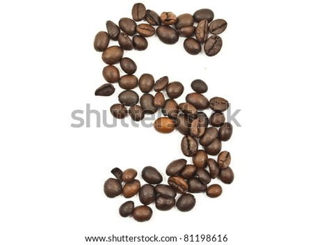 Coffee beans number 5 isolated on the white. - stock photo