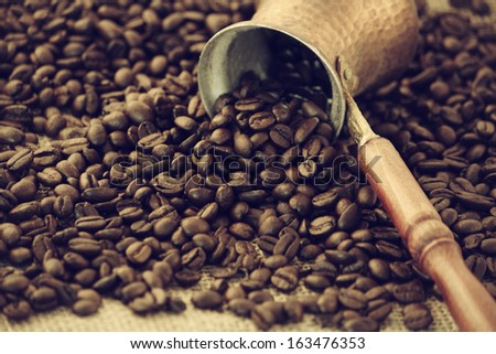 coffee beans on the background of - stock photo