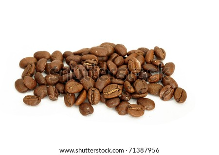 Coffee beans pile isolated on white background - stock photo