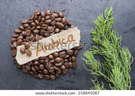 Coffee beans with Arabica label on black wooden background. - stock photo