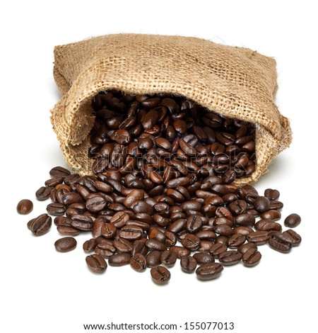 Coffee beans with burlap bag on white background - stock photo