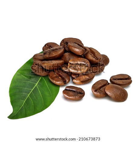 Coffee beans with leaf on white background - stock photo