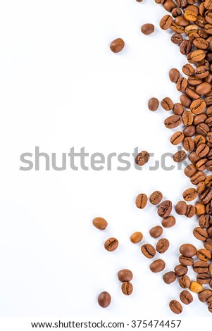 Coffee beans with white background for copy space. - stock photo
