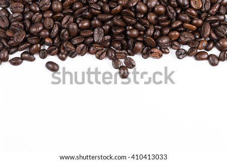 Coffee beans with white copy space for your text - stock photo