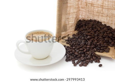 Coffee been and sack box - stock photo