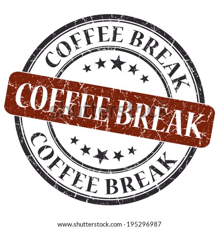 Coffee break brown round grungy stamp isolated on white background - stock photo