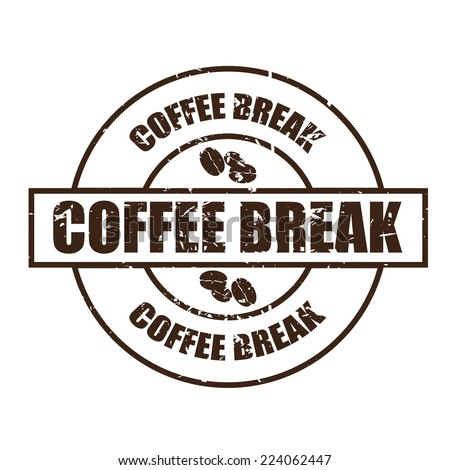 Coffee break With Coffee Bean Sign On Color Vintage Label, Sticker And Tag. - stock photo