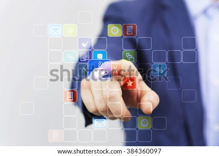 Coffee button, coffee time concept,Business person press a button modern virtual technology - stock photo
