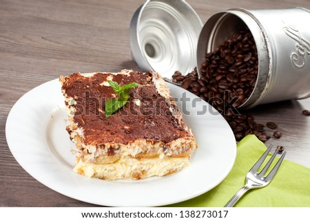 coffee cake on a wood table - stock photo