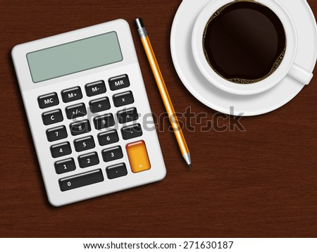 coffee, calculator and pencil lying on wooden desk with place for text - stock photo