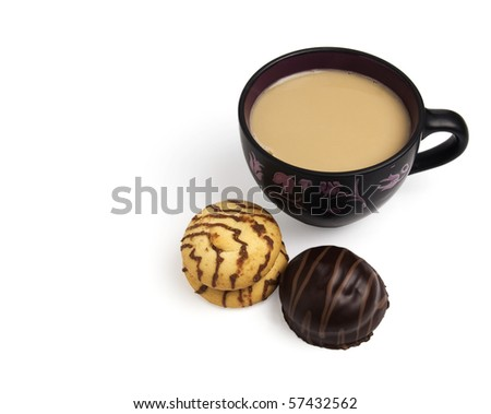 Coffee cappuccino and cookies isolated over white background - stock ...