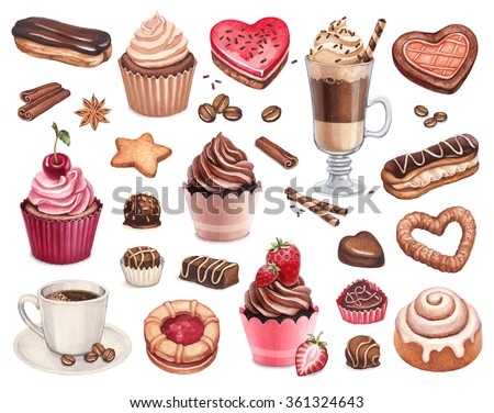 Coffee, chocolate eclair, cinnamon bun and cupcakes illustrations - stock photo