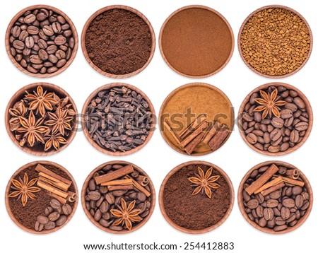 Coffee, cinnamon, star anise, cloves in a wooden posubk on a white background - stock photo