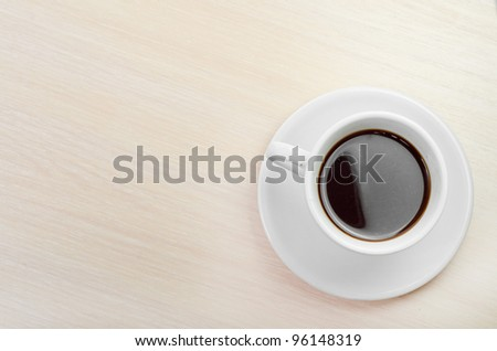coffee classic cup on a wooden table top view - stock photo
