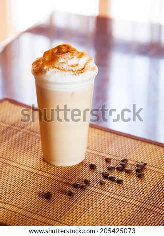 coffee cocktail on the table with coffee beans  - stock photo