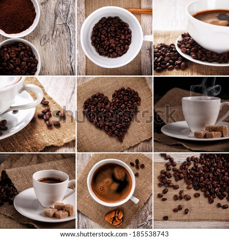 Coffee collage. Collection of Coffee. - stock photo