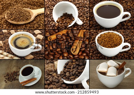Coffee collage with beans, cinnamon and sweets   - stock photo