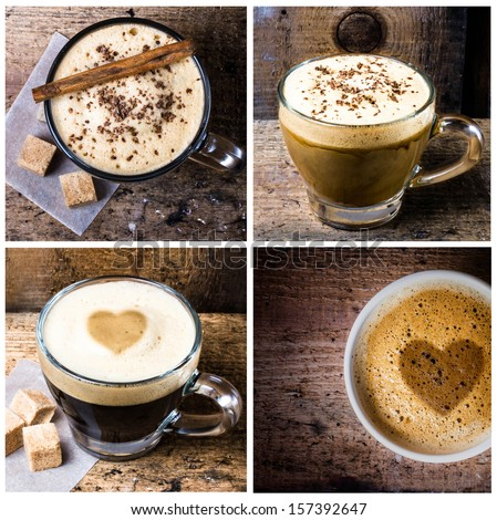 Coffee collage with Coffee espresso, cappuccino  and mocha with heart shaped milk foam. Food set of cap with coffee. Coffee Valentines  concept. - stock photo