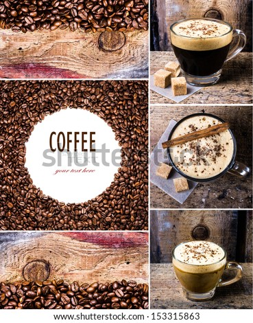 Coffee collage with  Espresso, cappuccino, mocha and Coffee beans. Food set of cap with coffee. Coffee concept. - stock photo