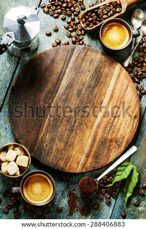 Coffee composition on wooden rustic background - stock photo