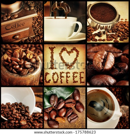 coffee concept collage - stock photo