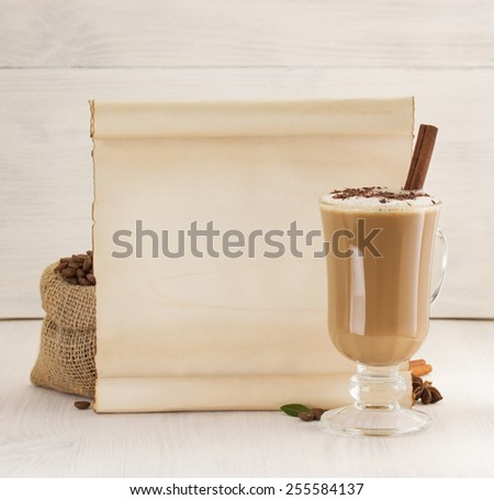 coffee concept on wooden background - stock photo