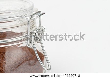 Coffee container on light grey background with copy space - stock photo