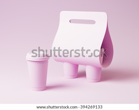 Coffee cup and holder mockup. Pink color - stock photo